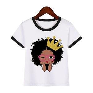Милая детская футболка в Африканском и американском стиле с пышными волосами и короной для девочек черная одежда принцессы с принтом для де...