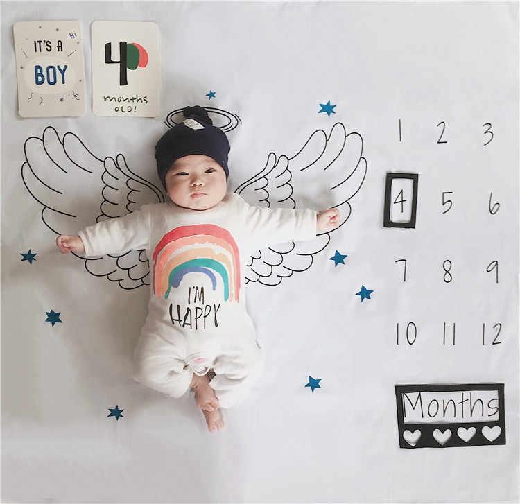 Asas de anjo para recém-nascidos, cobertor para milestone, pano de fundo, número menino de crescimento, adereços de fotografia para tiro, 2019