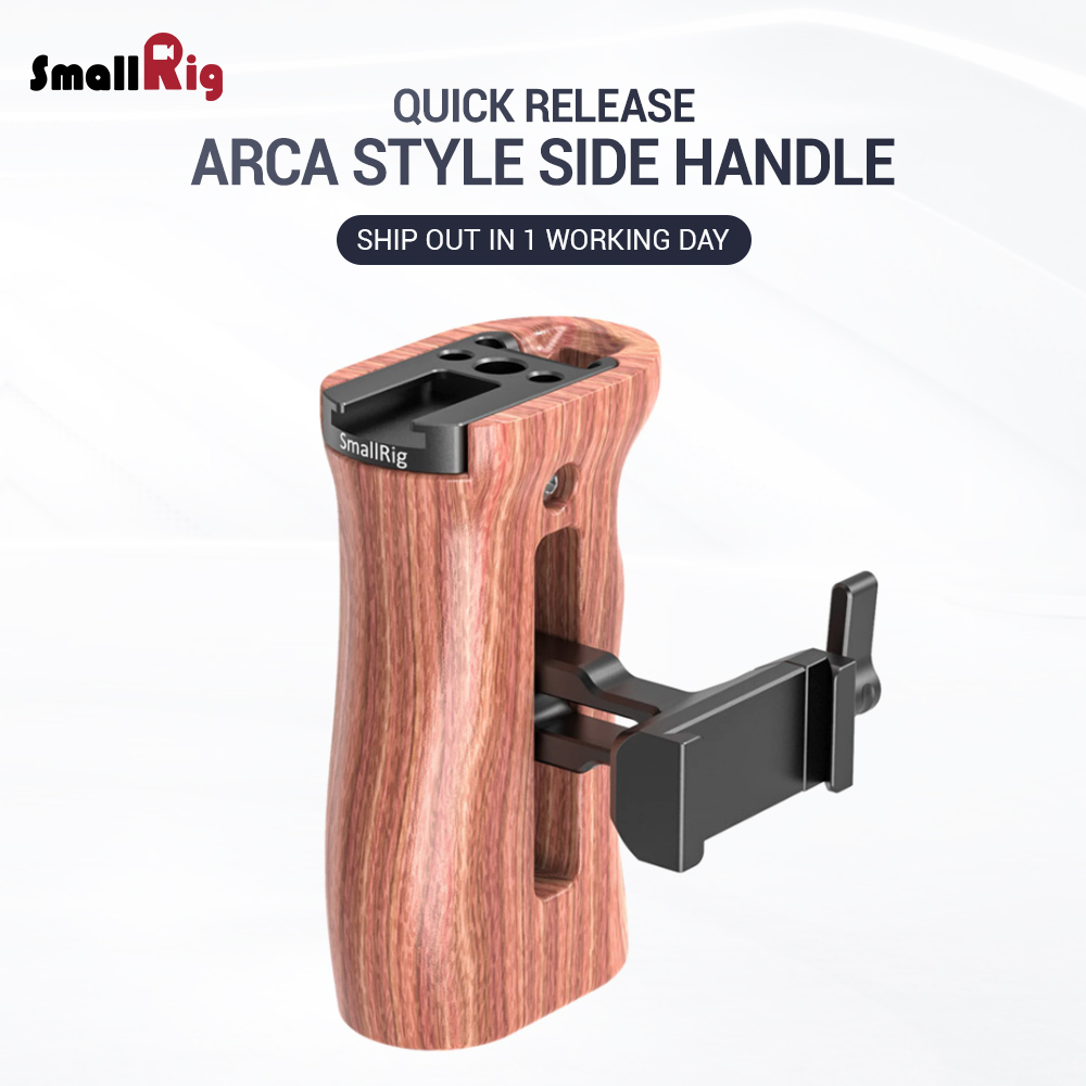 SmallRig Quick Release Arca Compatible Wooden Side Handle For A7III / A7RIII L Plate , Z6 Z7 L-Bracket 2399