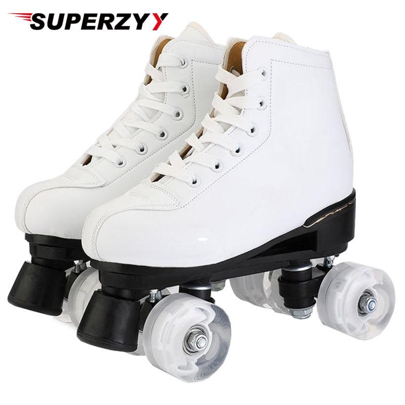 Kunstmatige Lederen Rolschaatsen Dubbele Line Skates Vrouwen Mannen Volwassen Twee Line Skate Schoenen Patines Met Witte PU 4 Wielen patins