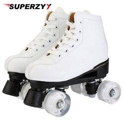 Patins à roulettes en cuir artificiel Double ligne Patins femmes hommes adulte deux lignes patin chaussures Patines avec blanc PU 4 roues Patins