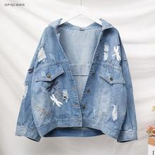 4XL 5XL azul Vintage suelto de talla grande chaquetas de vaqueros de Mujer 2019 otoño Casual Streetwear de manga larga para mujer abrigo de mezclilla Outwear