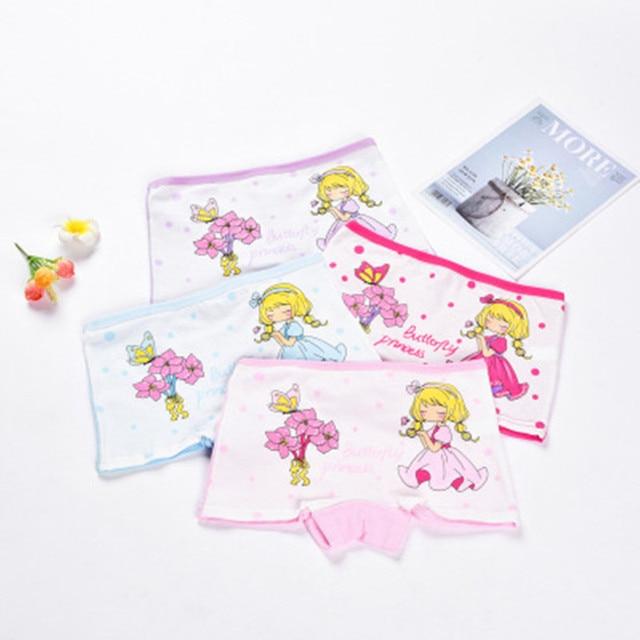 2-12Y Children 4 Pieces/Lot Underwear High Quality Cotton Girls Panties Cute Pattern Kids Boxer Briefs Child Soft girl Pants 5