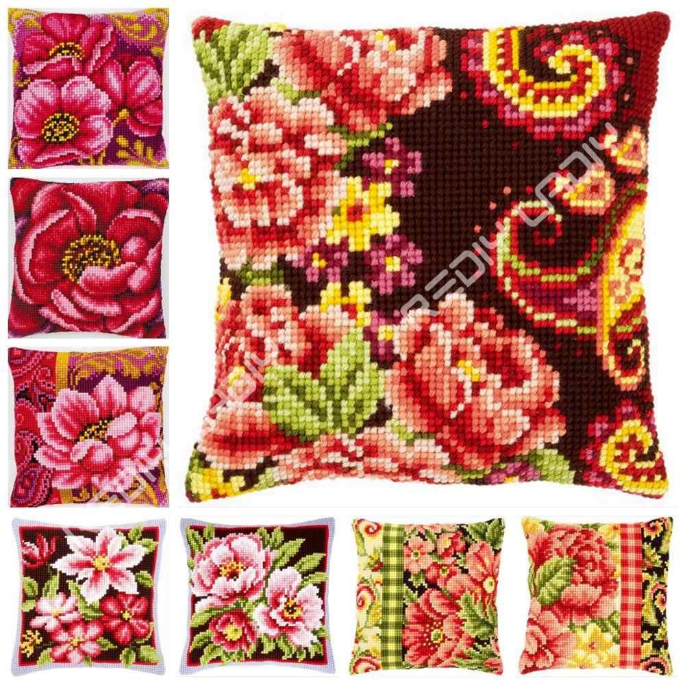 Cross Stitch poduszka przód Lotus Peony maki poduszka Chunky Cross-zestaw do szycia 100% przędza akrylowa poszewka na poduszkę do domu rzemiosło