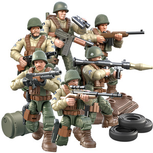 1:35 World War II Military Series Blocks Set Simulation Action Figure Full Joint Army Soldier Building Blocks kids Toys For Boys