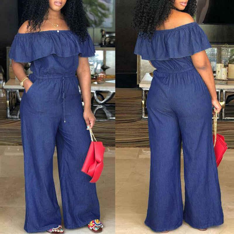 Летняя мода Boho женский комбинезон с открытыми плечами комбинезон Bodycon Вечерние комбинезон синий брючный комбинезон