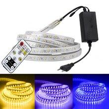 مصلحة الارصاد الجوية 5050 220 فولت LED الشريط الأبيض في الهواء الطلق مقاوم للماء 5730 RGB شريط LED أضواء الشريط مرنة RGB LED الشريط مع عكس الضوء عن بعد