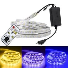 SMD 5050 220V HA CONDOTTO LA Striscia Bianco Esterno Impermeabile 5730 Del Nastro di RGB LED Luci Nastro Flessibile Striscia di RGB LED con dimmerabile a distanza