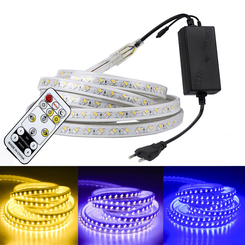 SMD <font><b>5050</b></font> 220V LED Strip White Outdoor Waterproof 5730 RGB LED Ribbon Tape Lights Flexible RGB LED Strip with Remote Dimmable image