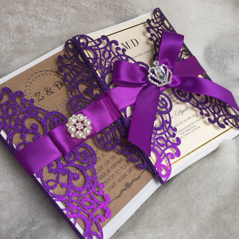 laser cut party glitter light gold birthday invitations card glitter purple wedding invitation card customize ribbon buckle