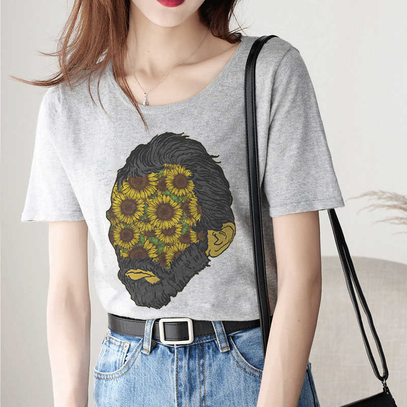 Gray O-neck Short Sleeve Spoof Van Gogh Pattern Printing Harajuku Vogue Aesthetic Funny T Shirts Women Tops 2019 Summer Vintage