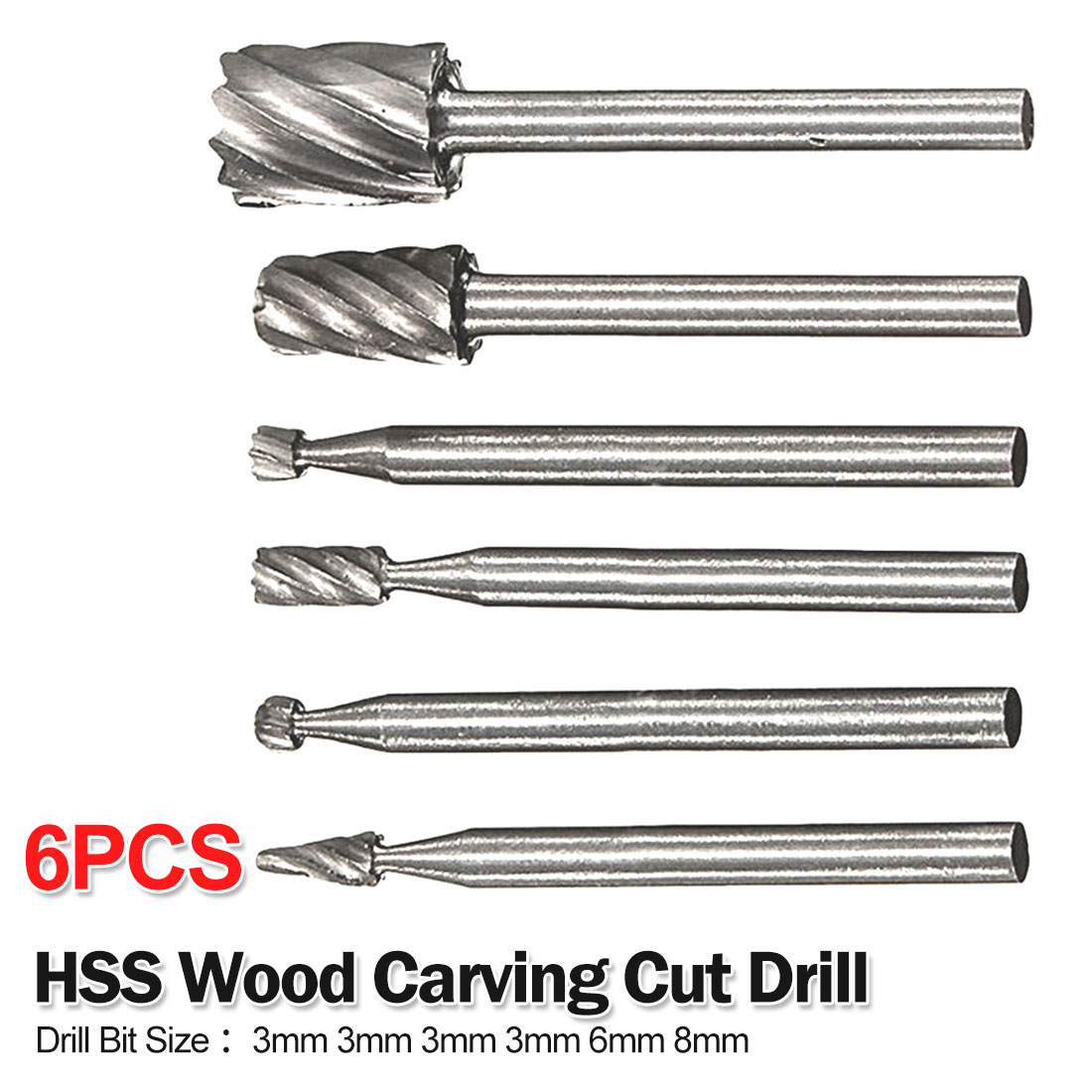 HSS Drill Bit Set 6pcs Cutting Routing Grinding Bit  Rotary Tool Milling Cutter For Woodworking/Plastic 3mm 3mm 3mm 3mm 6mm 8mm