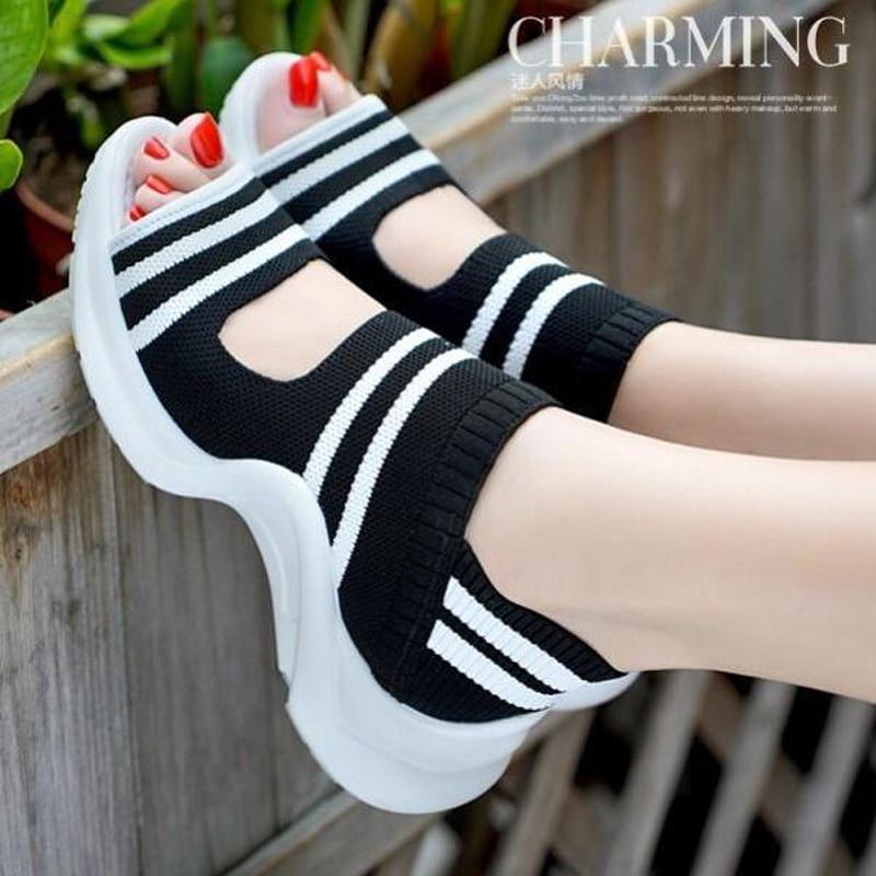 Women sandals 2021 summer shoes woman knitting breathable sandals wedges platform sandals lady comfortable shoes