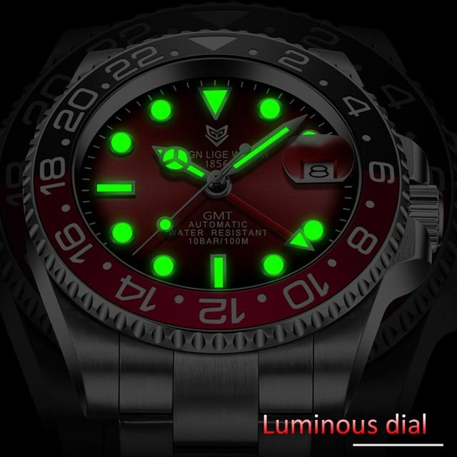 LIGE DESIGN Men GMT Automatic Mechanical Watch Ceramic Bezel 316L Stainless Steel 100ATM Waterproof Clock Sapphire Glass Watches 3