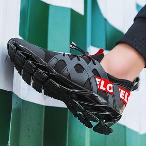 Image 5 - Zapatos deportivos de malla cómodos para hombre, calzado informal con absorción de impacto, zapatos de entrenamiento transpirables, zapatos de malla con cordones