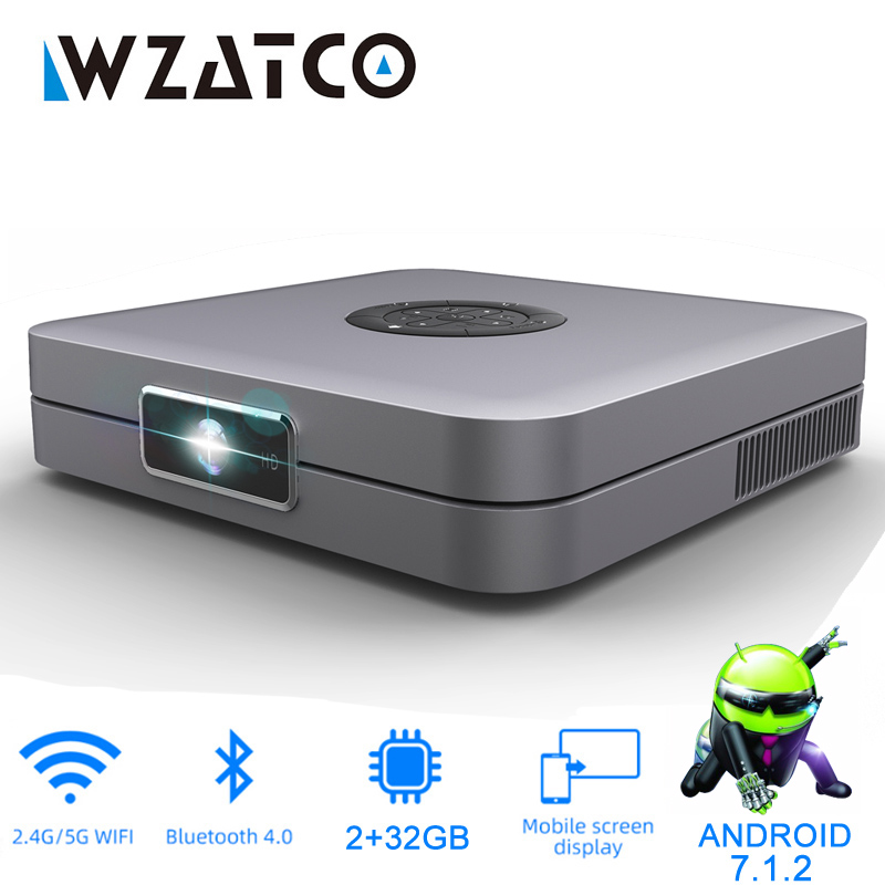 WZATCO D1 DLP Projector support Full HD 1920x1080P,32GB Android 7.1 5G WIFI AC3 Video Beamer 3LED MINI Projector for Home Cinema title=