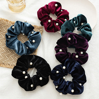 Fashion Flannel Pearl Hair Scrunchies Women Rope Ties Elastic Hair Bands For Women Solid Color Ponytail Holder Hair Accessories