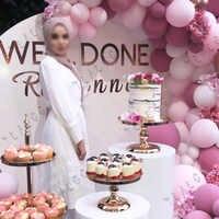 100 Uds Pastel Rosa Blanco globos aniversario de boda decoración de fiesta de cumpleaños globo guirnalda arco bebé Kit de chica