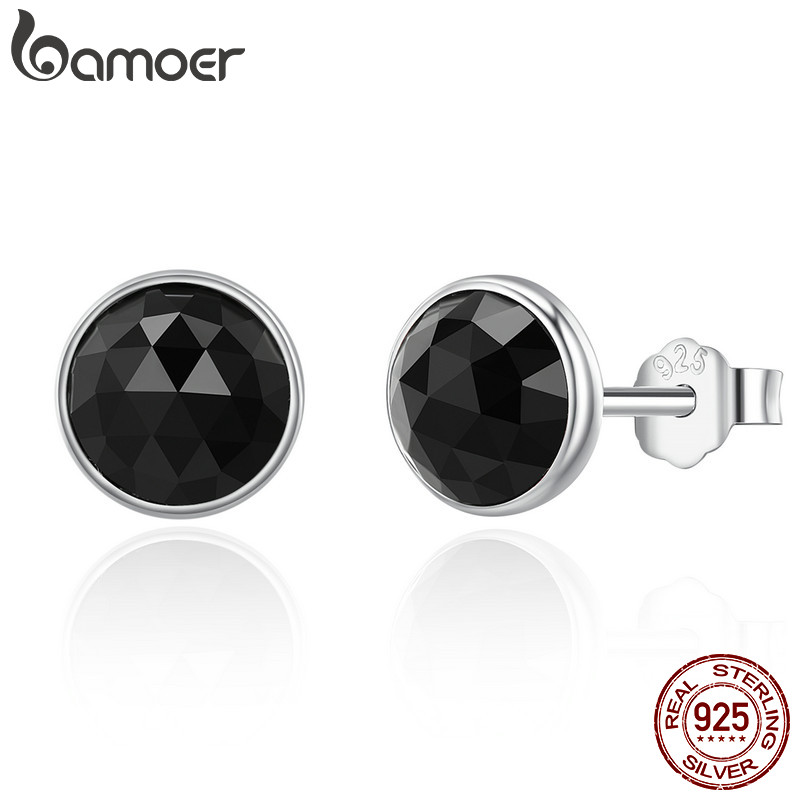 BAMOER 100% 925 Sterling Silver June Droplets Stud Earrings, Black Crystal Stud Earrings Women Sterling Silver Jewelry PAS523
