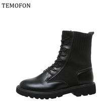 2019 Fashion Black Leather Martin Boots Punk Lace Up Autumn Winter Women Ankle Boots Round Toed Motorcycle Female Shoes HDR1008(China)