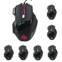 New 7 Buttons 5500 DPI Wired Gaming Mouse LED Optical Game Mice For PC Laptop raton ordenador con cable#30