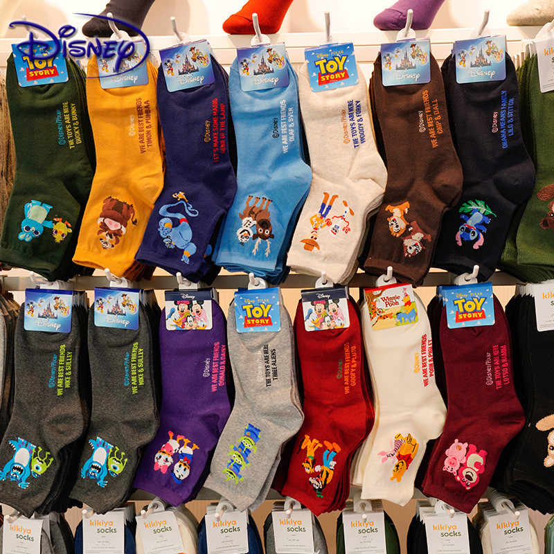 Calzini da donna casual Disney Cartoon Minnie Mickey Donald Duck Pattern socks Winnie The Bear In The Tube calze di cotone