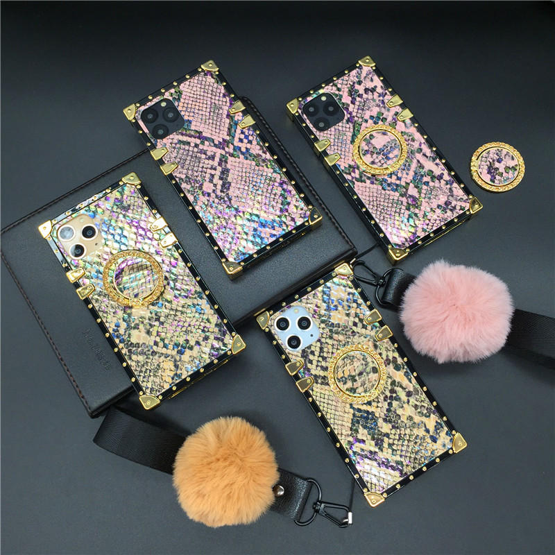 Luxury Bling Glitter Cover Square Snake Skin Case for Huawei Mate 20 PRO <font><b>30</b></font> P20 P30 P40 Pro Nova 3i <font><b>5</b></font> Honor V30 10 8X Y6 Y7 Y9 image
