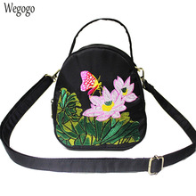 2020 Summer Women Messenger Bags National Floral Embroidery Mini Canvas Totes Zipper Mobile Phone Coin Purse Beach Shoulder Bag women floral embroidery bag ladies black crossbody totes canvas three zipper travel beach phone coin bags shoulder messenger bag