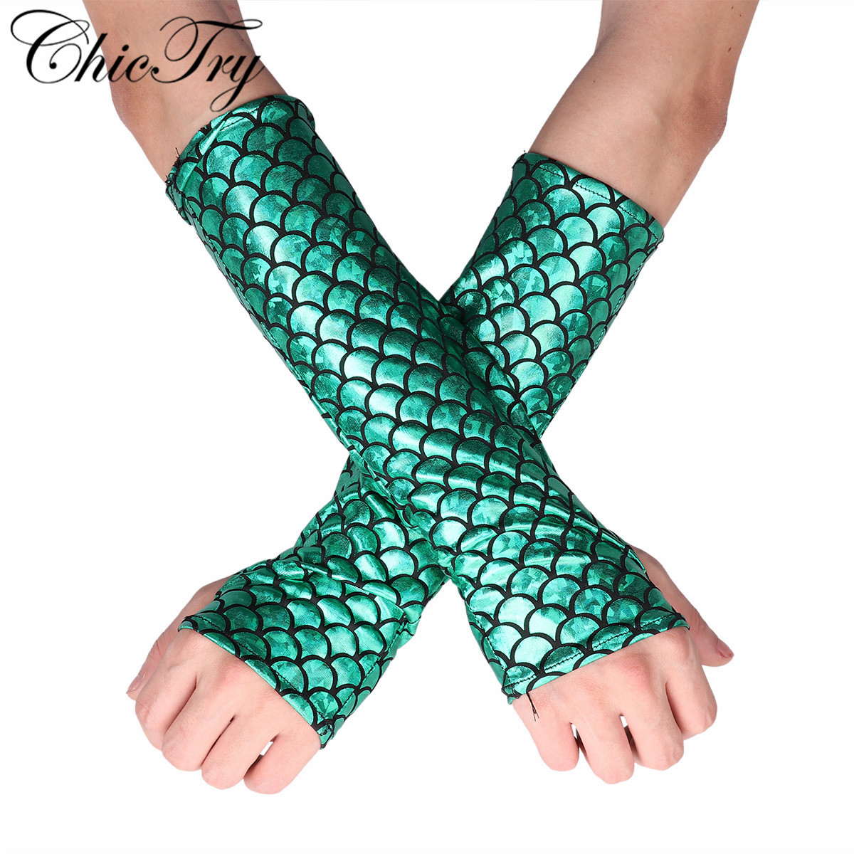 Women Female Mermaid Fish Scale Fingerless Csoplay Gloves Long Gloves Arm Sleeves Adult Halloween Fancy Party Costumes Accessory