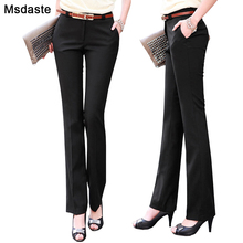 Pantalones rectos ajustados de cintura alta para mujer, pantalón Formal, de talla grande, para oficina