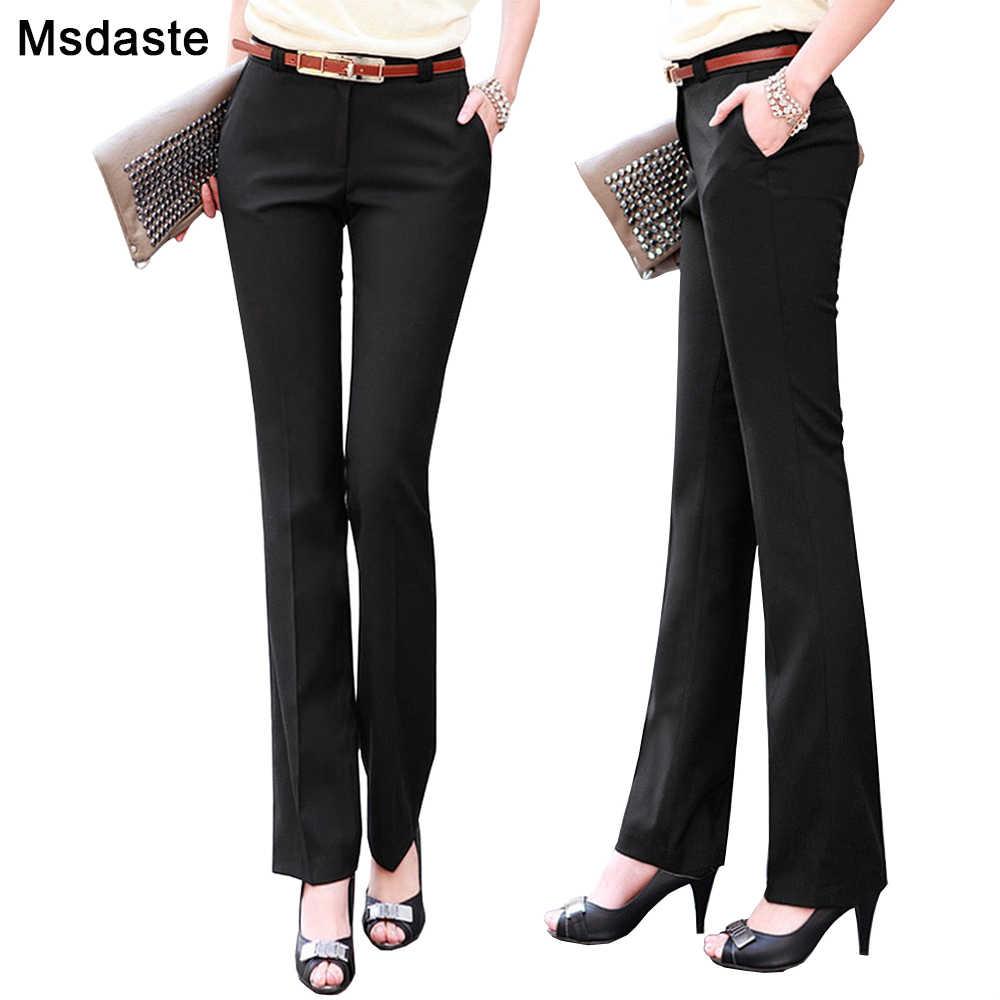 Pantalones Rectos De Cintura Alta Para Mujer Pantalon Formal Delgado De Talla Grande Ropa De Oficina Pantalones Y Pantalones Capri Aliexpress