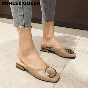 Brand Mules Wome Slippers Square Toe Wooden Low Heel Casual Shoes Women Metal Buckle Slides Slip On Outdoor Slipper Big Size 41