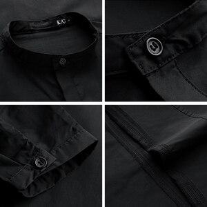 Image 5 - Kuegou 2020 outono de algodão camisa preta dos homens vestido casual botão suporte magro ajuste manga longa para a marca masculina roupas tamanhos grandes 6139