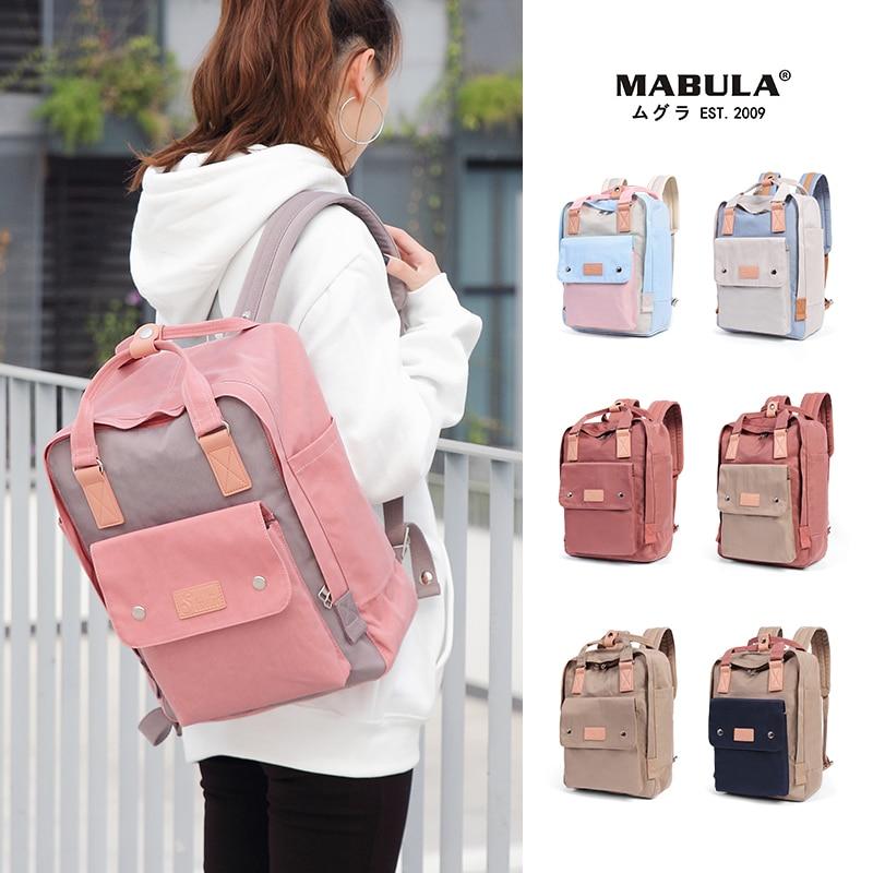 Women Canvas Backpack School Waterproof School Bags For Teenagers Shoulder Bag 14'' Laptop Travel Bag Candy Multi-color Backpack