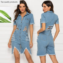 2020 sommer Overall Mode Casual Sexy Schlanke Loch Denim Body Solide Polo Neck Kurzarm Große Größe Frauen Overall CW709(China)