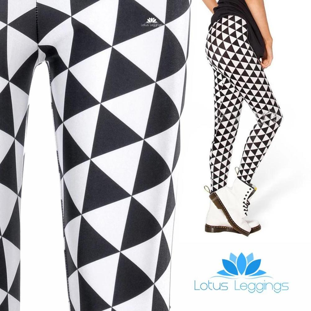 Black And White Diamond Lattice Pattern Elastic Force Leggings Sporting Workout Breathable Polyester Fitness Leggings Gifts
