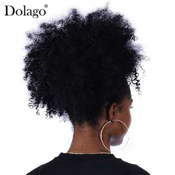 afro crépus bouclés queues de cheval cheveux humains 100% couleur naturelle - discount item  46% OFF Human Hair (For Black)