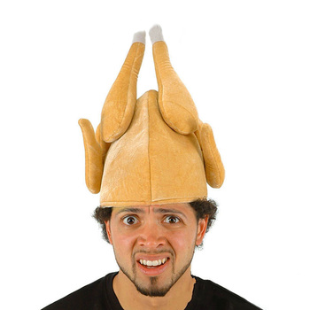 Funny Adult Plush Roasted Turkey Hat Velvet Thanksgiving Christmas Holiday Party Festival Cosplay Costume Cap Chicken Dress Toy