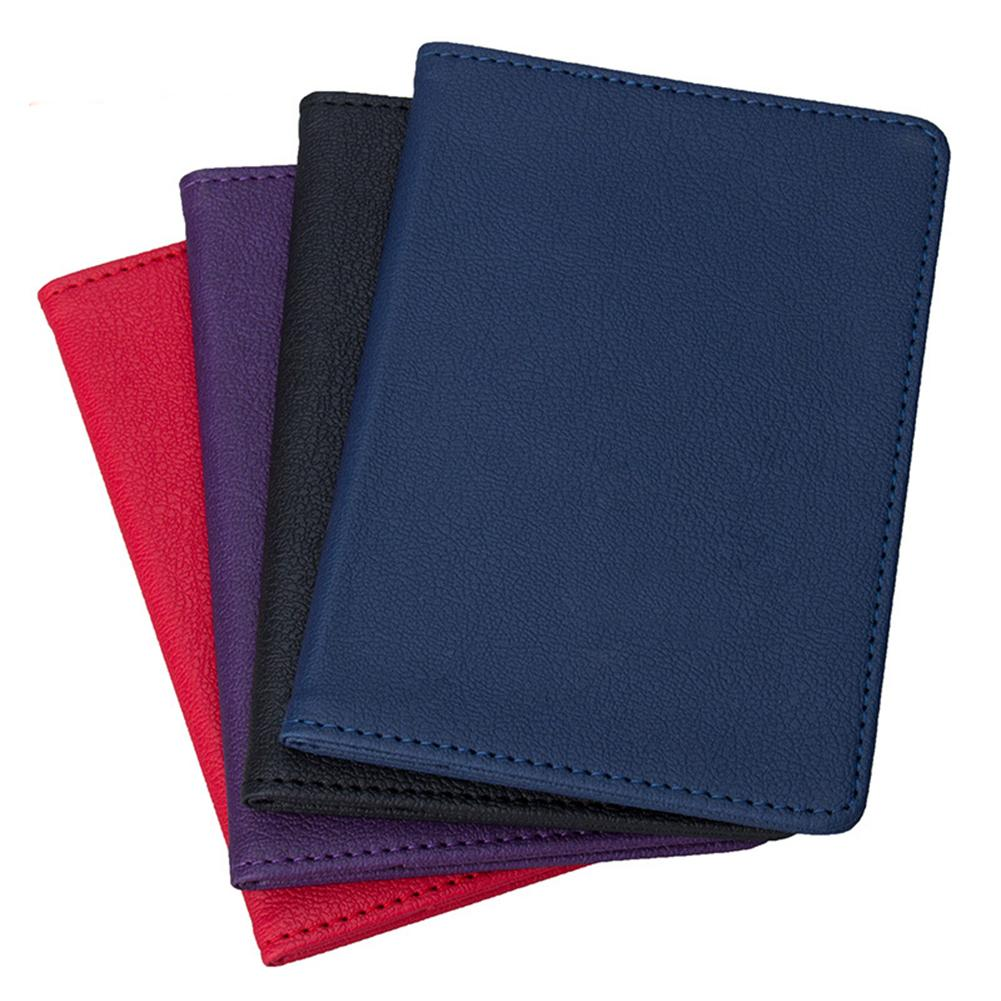 Dropshipping stationery supplies Solid Color Portable Travel Faux Leather Passport Ticket Holder Card Storage Bag
