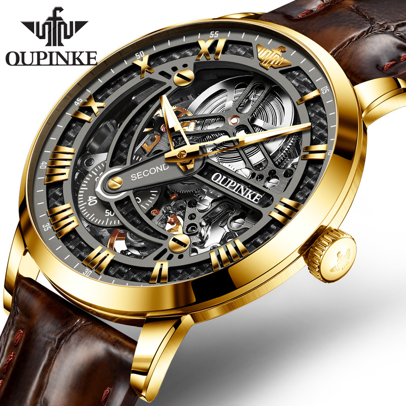 OUPINKE Mens Watches Automatic Mechanical Genuine Leather High Quality Waterproof Luxury Classic Business Military Wristwatch