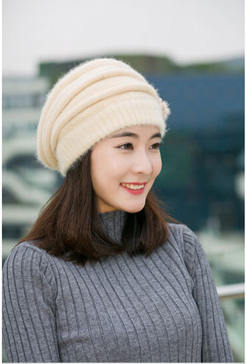 Cap Beret Womens Winter Warm Flower Knit Crochet Beanie Hat