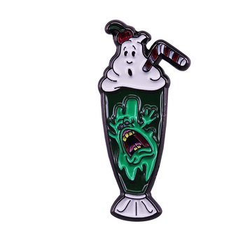 Ghostbusters Enamel Pin Ghost Diner Shake pin Bill Murray 80's horror Lapel Pin image