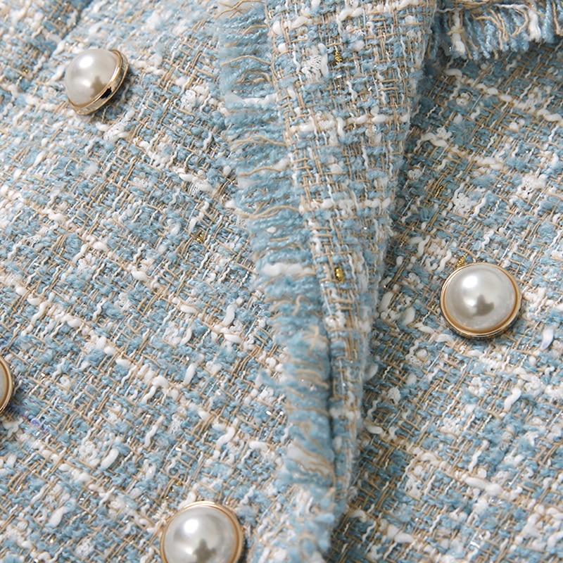 2020 Spring Autumn Vintage Plaid Tweed Blazers And Jackets Women Pearls Tassel Slim Suit Outwear Female Coat Office Blazer Mujer
