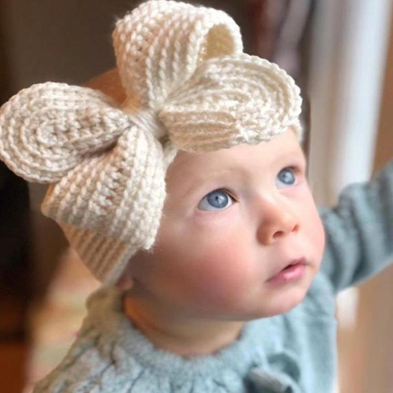 Children Knitted Hairband Baby Warm Woolen Bow Turban Colorful Fashion Cute Bowknot Woven Cotton Kids Hair Head Bands Headwear
