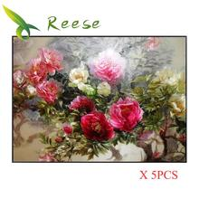 Aliexpress Value Set Sale 5pc/lot Diy Full Resin Round Diamond Painting Cross Stitch Embroidery Kit Peony Flower A Mosaic Hobby
