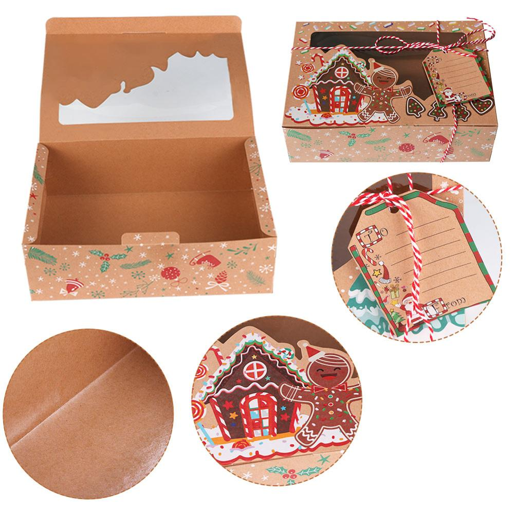 OurWarm-12-24pcs-Kraft-Paper-Christmas-Cookie-Gift-Boxes-with-Clear-Window-22-15-7cm-New (1)