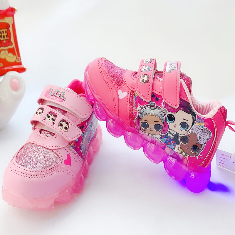Original LOL Surprise Dolls Winter New Women Sport Shoes LED Color Flash Shoes Girls Cute Non-slip Sneakers Gifts For Girls 2X11