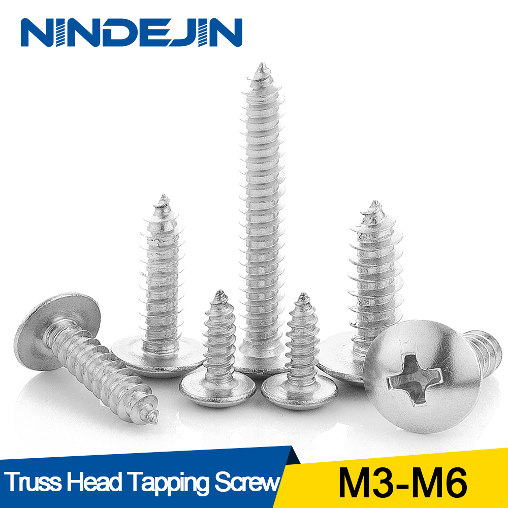 NINDEJIN 20/55pcs Cross Recessed Truss Head Self-tapping Screw 304 Stainless Steel M3 M4 M5 M6 Phillips Mushroom Head Wood Screw