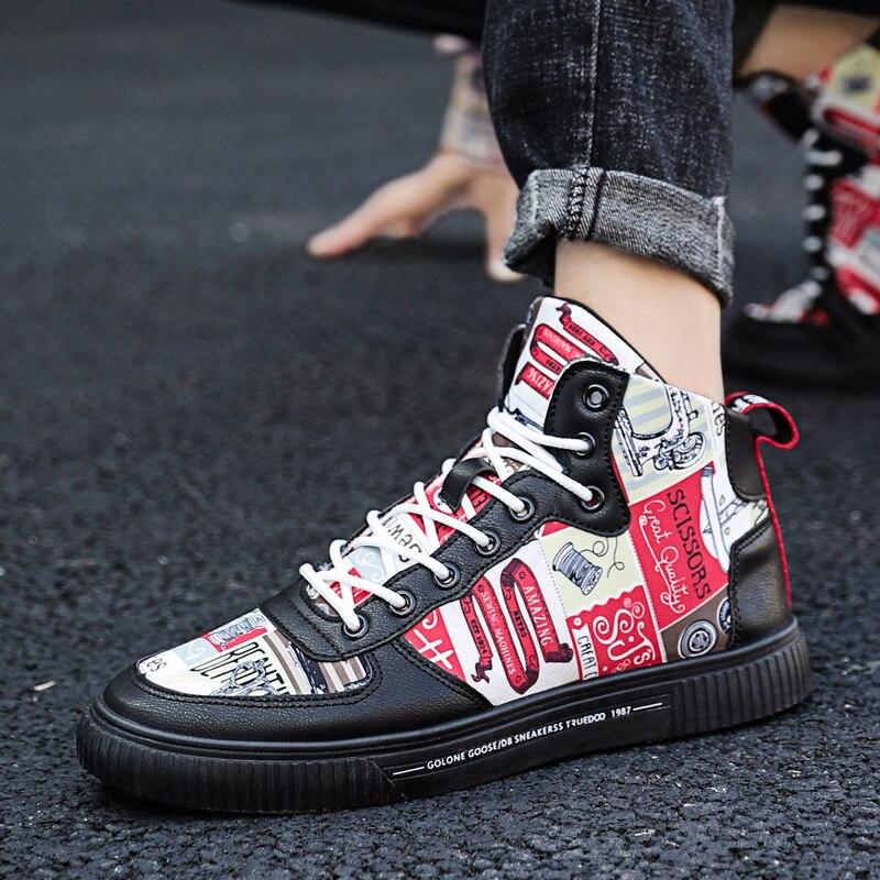 Модные кроссовки; повседневная обувь на плоской подошве; белая парусиновая обувь с высоким берцем; Цвет Черный; Мужская обувь для скейтборд