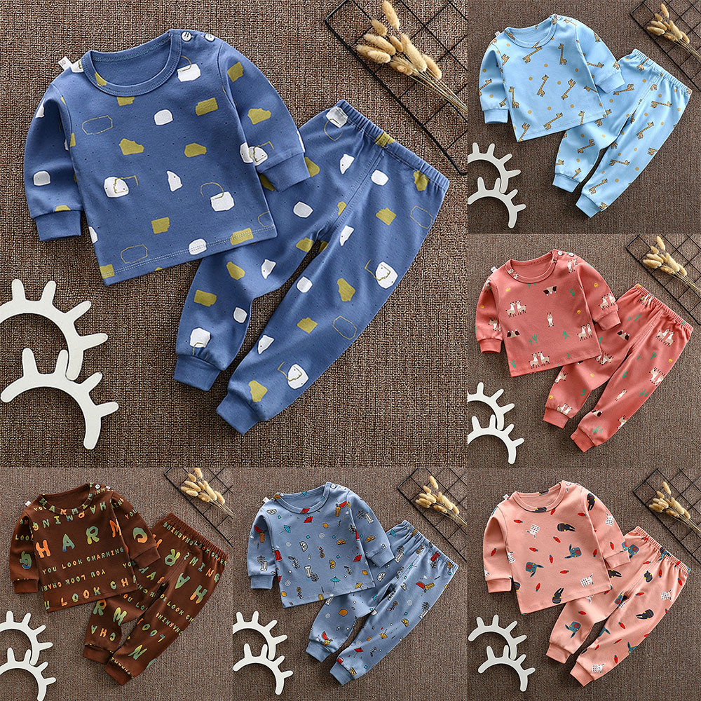 CYSINCOS Newborn Cotton Clothing Set Baby Cartoon Pattern Sleepwear Blouse Pants Clothes Boys Girls Infant T-shirt Trousers Suit